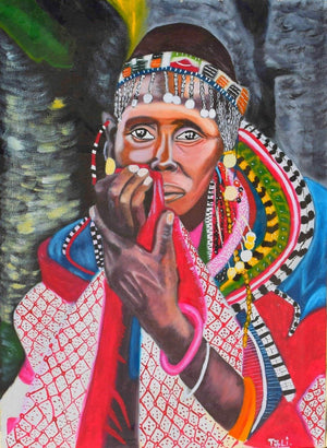 A real African handmade painting of a Maasai mother in Arusha