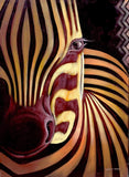 Handmade African painting of zebra stripes painted in black and white
