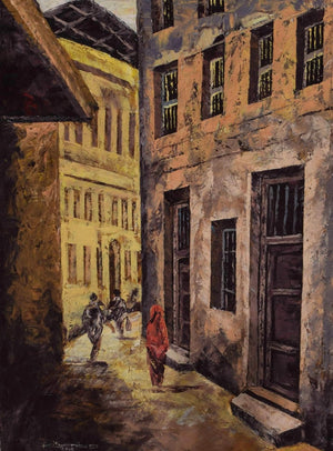 Picture of a handmade african painting of alleyways in Zanzibar