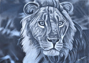 african art of a lion in the serengeti