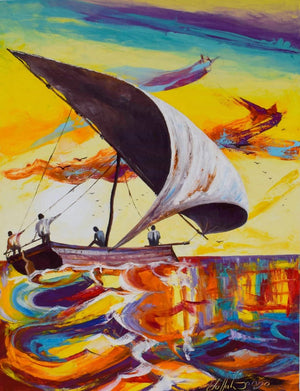 Handmade painting showing a boat blowing over a rainy day in Zanzibar