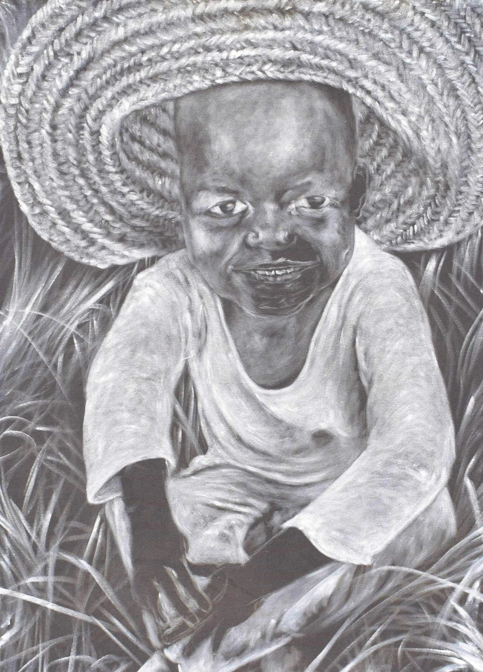 african painting of a toddler