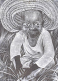 The toddler is a painting of an African child handcrafted in Africa