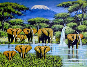 african painting of elephants