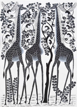 African wall art and painting of three giraffes