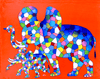 abstract elephant african painting