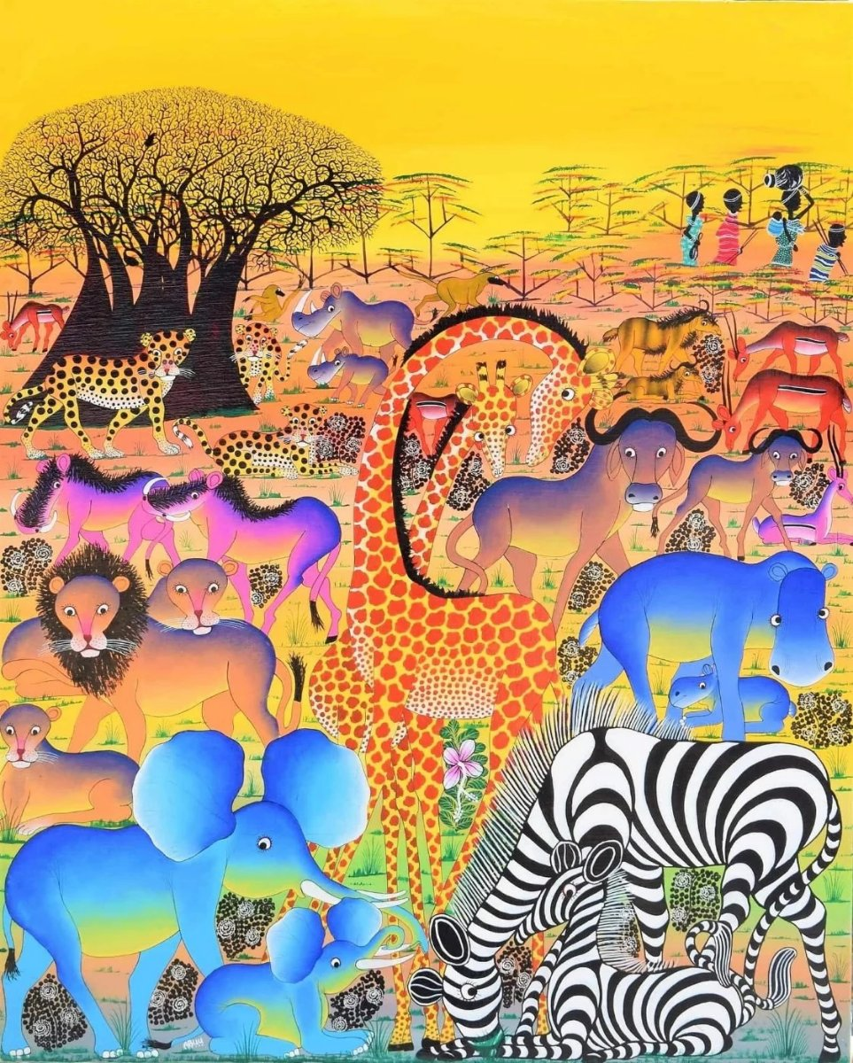 african painting of animals