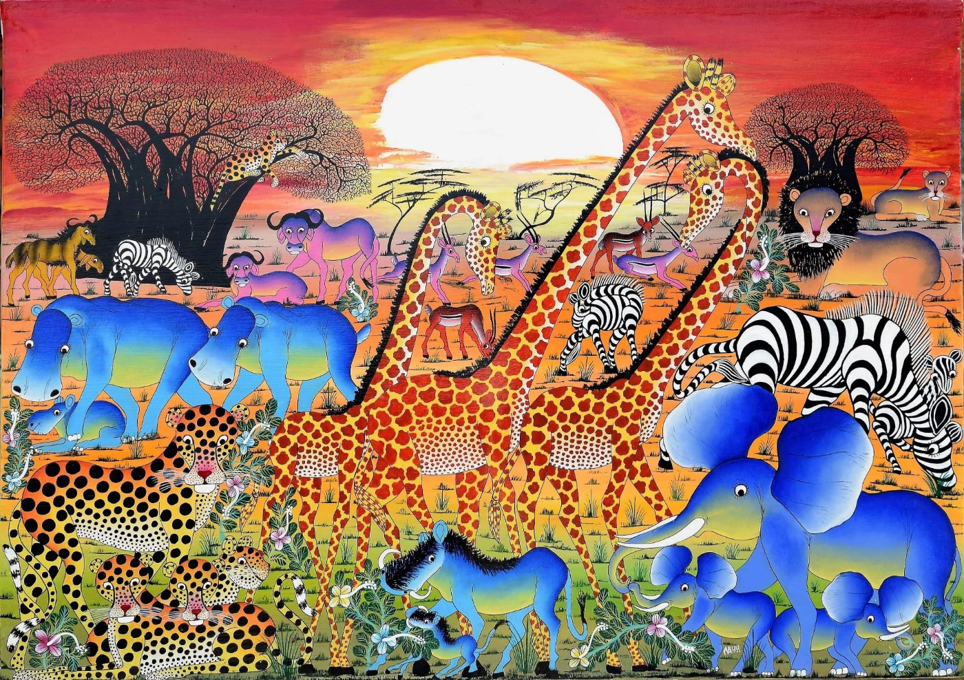 African wall art of giraffes