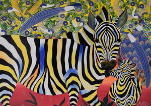 African painting of two abstract zebras