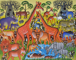 african art of giraffes