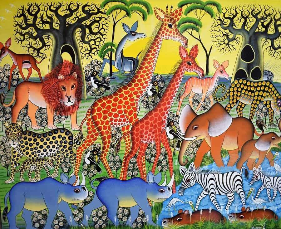 african painting of giraffes in the wild