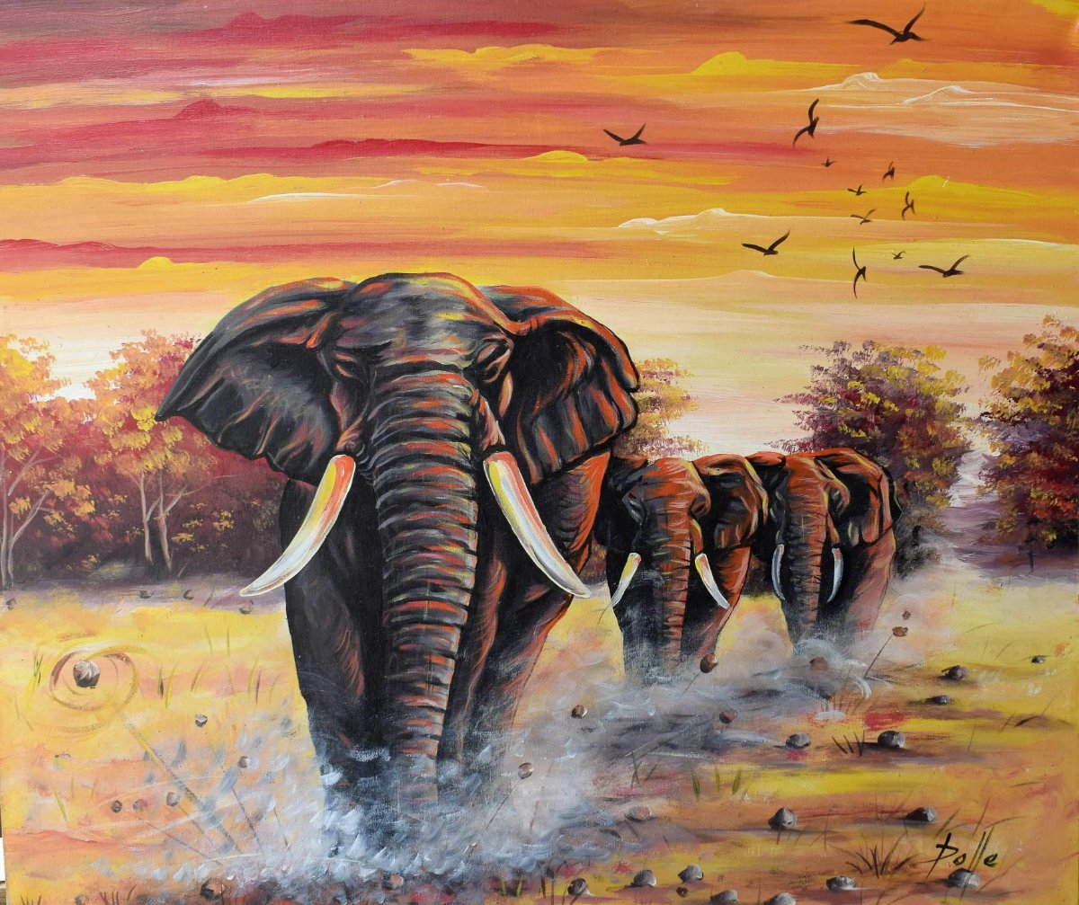 African art of elephants for sale
