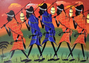 african wall art of maasai folk
