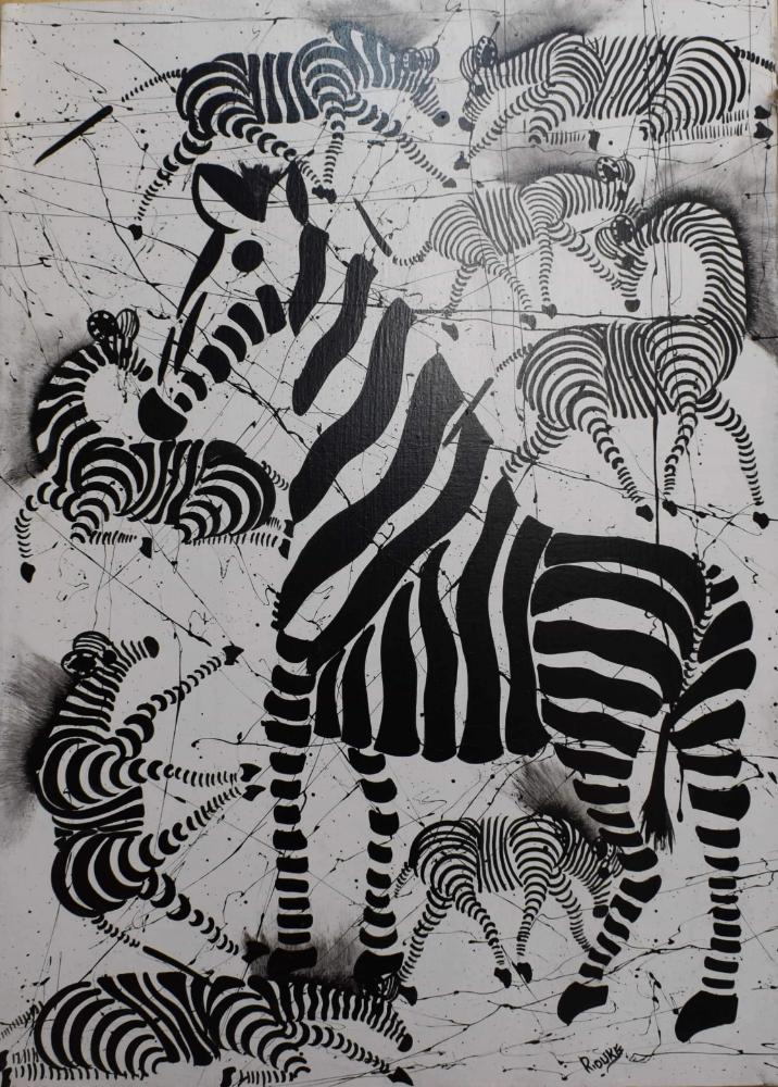 African art of many zebras for sale