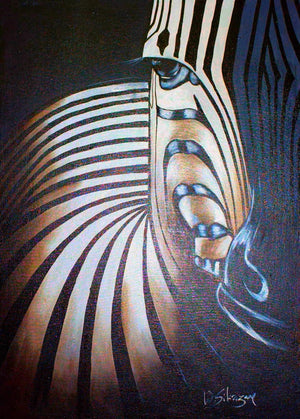 african wall art of a zebra