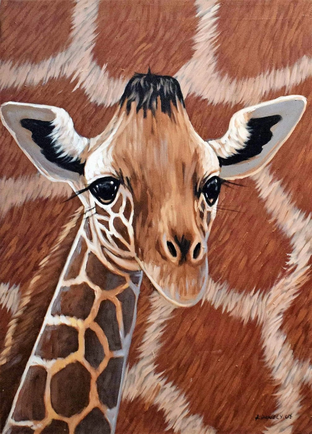 African painting of a giraffe for sale