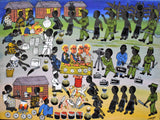 african wall art of people in Africa