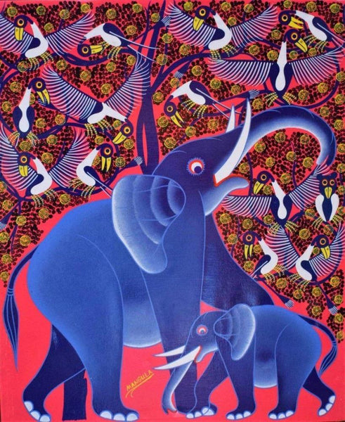 african wall art of elephant and her calf