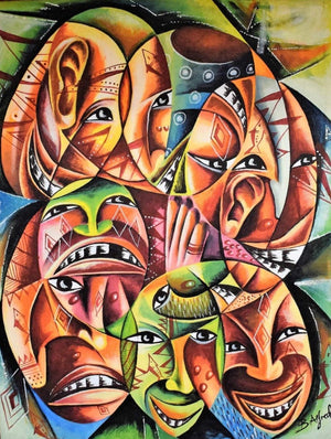 african wall art of masks