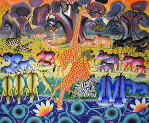 African painting of animals in the winter