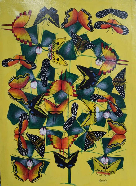 african painting of  butterflies