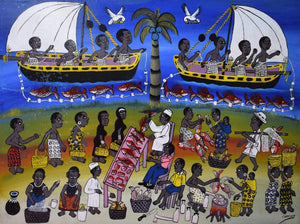 african wall art of the fish market