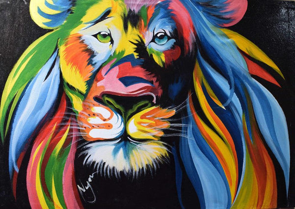 african wall art of lion