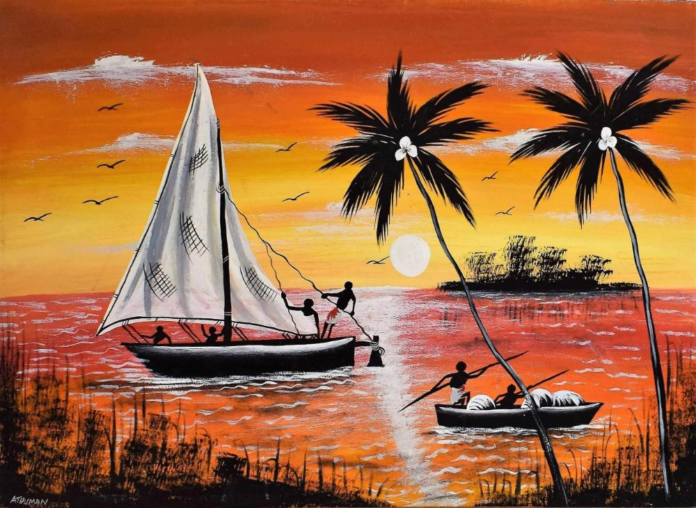 african wall art of islands for sale