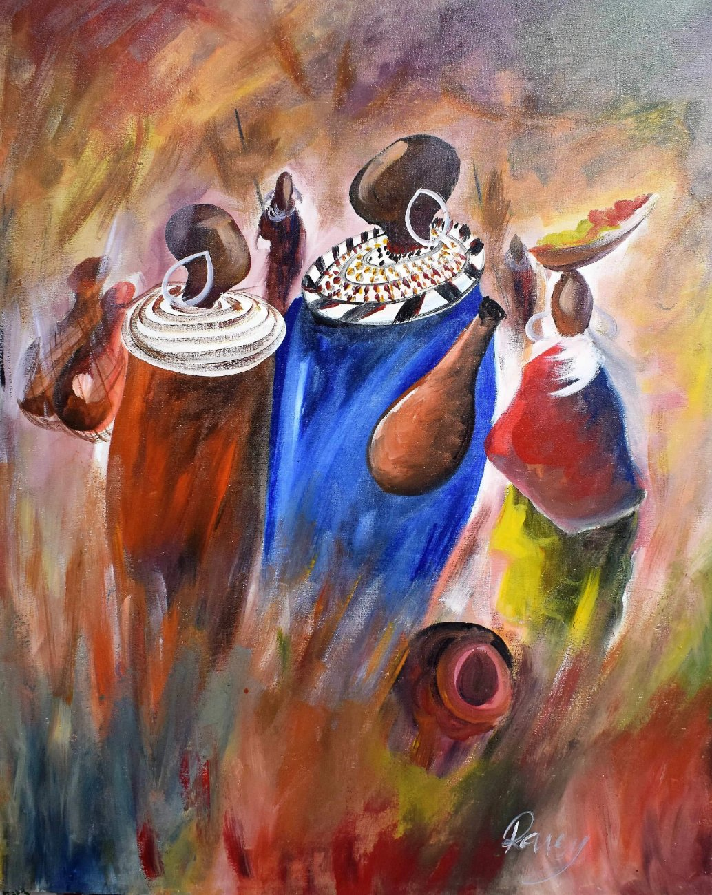 african painting of people