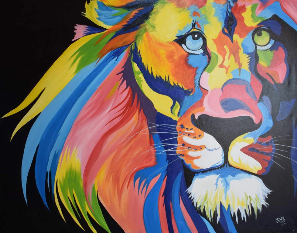 African  art of lion made by acrylic paints