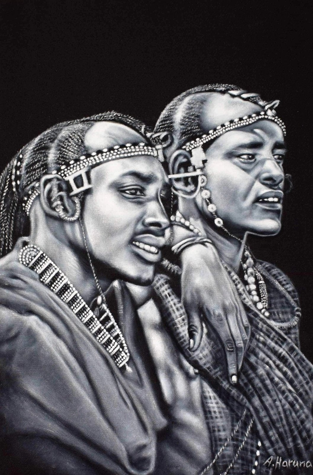 AFRICAN PAINTING OF MEN