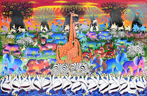 African painting of animals near Kilimanjaro