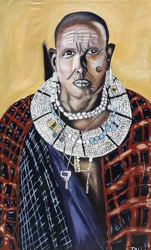 A handmade African painting of a Maasai man wearing Maasai clothes