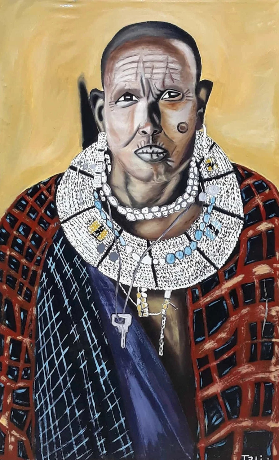 A handmade painting of a Maasai man wearing Maasai clothes