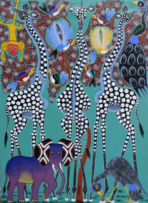 african painting of three white giraffes and an elephant