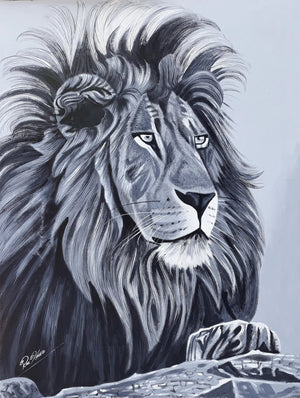 african painting of a lion