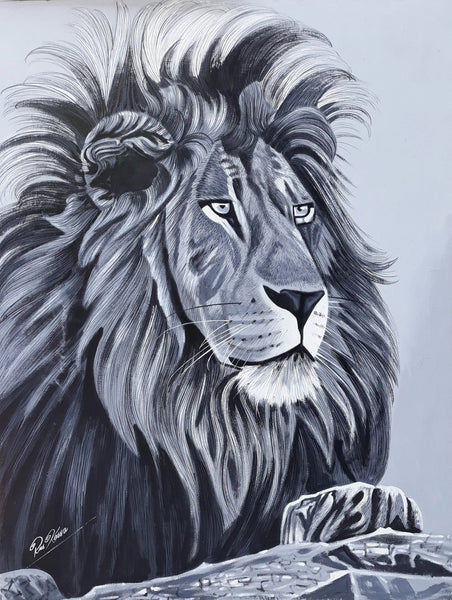 Beautiful handmade african painting of a lion by Ras Kassa