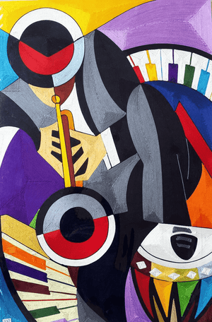 african painting of musical instruments
