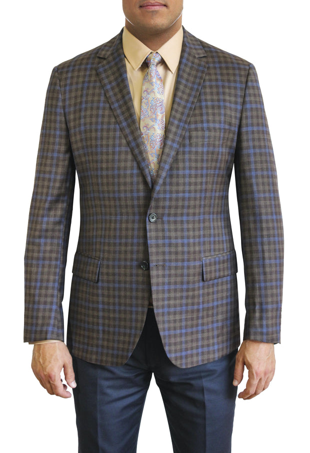 Brown and Blue Check two button jacket by Daniel Hechter