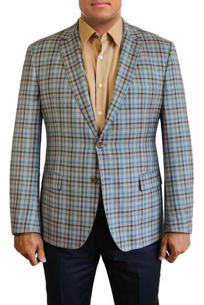 Light Blue and Brown Plaid two button jacket by Daniel Hechter