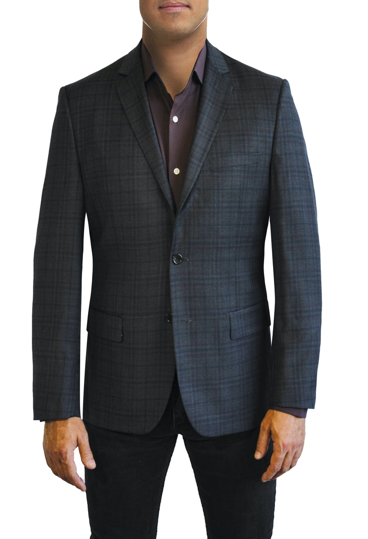 Grey Tonal Plaid two button jacket by Daniel Hechter