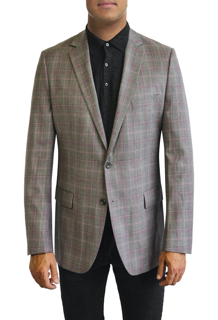 Grey Texture with purple Windowpane two button jacket by Daniel Hechter