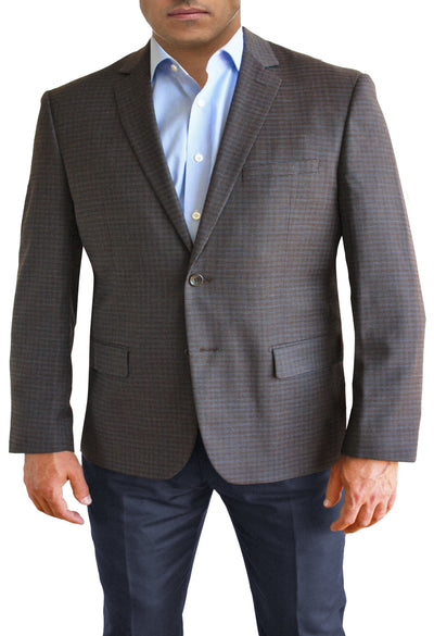 Brown Textured Check two button jacket by Daniel Hechter