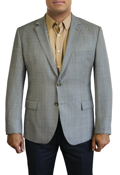 Tan Textured Solid two button jacket by Daniel Hechter