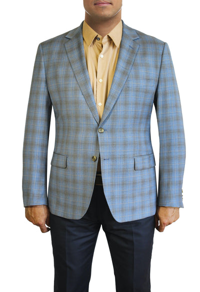 Light Blue Windowpane two button jacket by Daniel Hechter