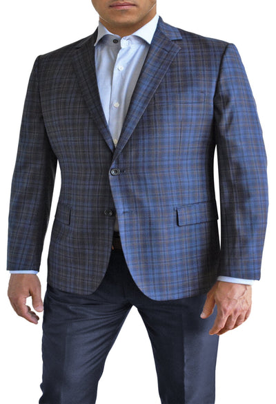 Blue Plaid with Brown Tint two button jacket by Daniel Hechter