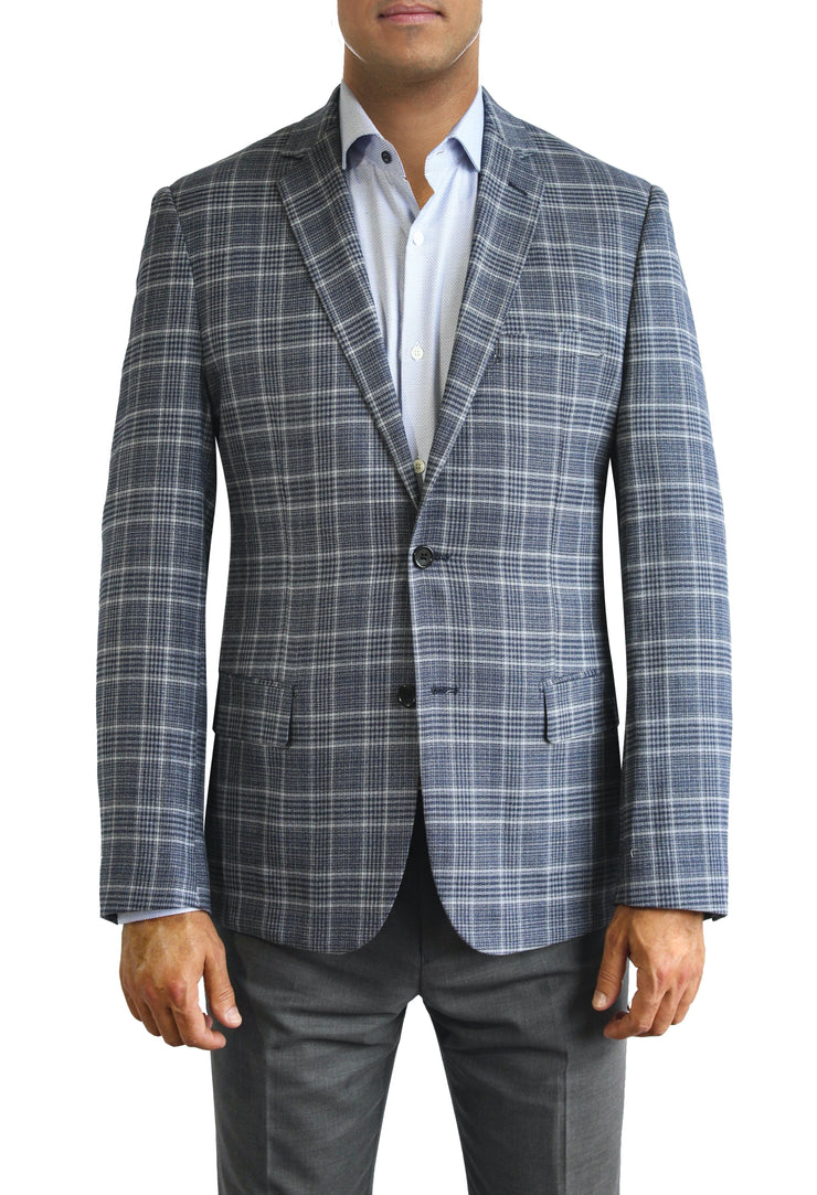 Blue and White Plaid two button jacket by Daniel Hechter