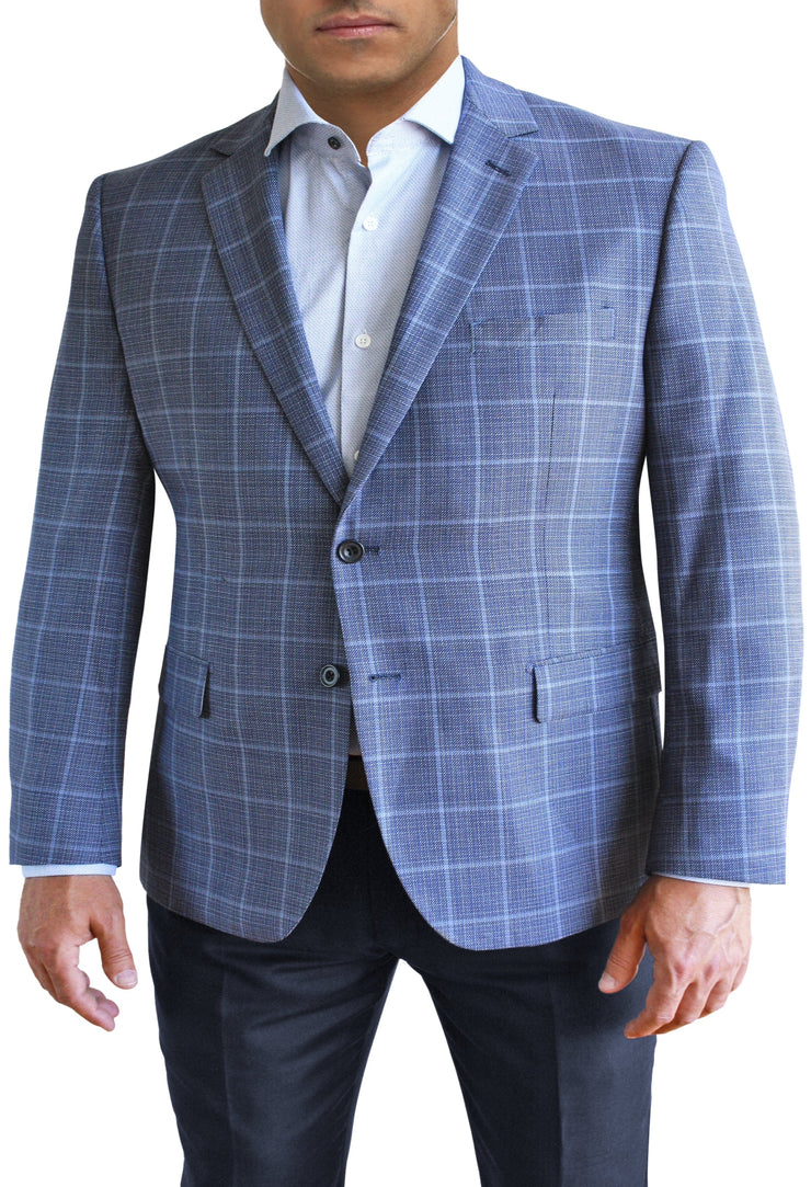 Blue Textured Windowpane two button jacket by Daniel Hechter