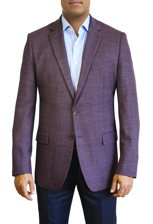 Maroon Textured Solid two button jacket by Daniel Hechter