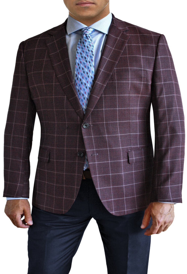 Maroon Textured Windowpane two button jacket by Daniel Hechter